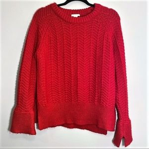 H&M | Red Knit Crew Neck Sweater Bell Sleeves
